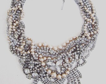 Chunky Rhinestone Wedding Statement Necklace Custom Bridal Pearl Vintage Wedding Necklace MADE TO ORDER Custom Necklace