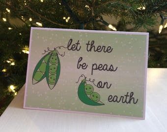 Let There Be Peas on Earth, Peace on Earth, Holiday Card, Folded Card