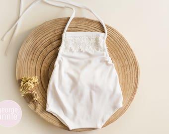 Little Girl Romper - Newborn, 6-9 Months or 12 Months - Photography Prop