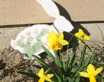 Wooden Jack Rabbit With Cactus Design | Southwestern Style Rabbit Decoration