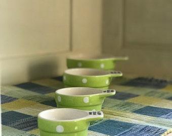 Vintage Spode Baking Days Green Polka Dot Measure Cups.