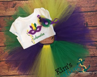 Mardi Gras Tutu and Set/ purple yellow green tutu /headband/ applique shirt