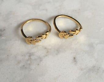 Gold Leaf Rings || Gold Vine Ring || Olive Branch Ring || Adjustable Gold Ring ||