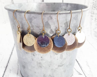 Leather Earrings, Leather and Metal Earrings, Statement Earrings, Layered Earrings, Lightweight Earrings, Dangle Earrings, Unique Earrings