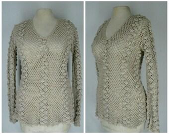 Vintage 70s sweater, 1970s crochet sweater, boho sweater, cotton crochet