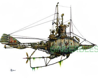 """11 of 12 Fanciful Submarine Giclee Print on Fine Art Smooth Paper (16""""x12"""")"""