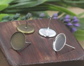 100 Blank Earrings- Brass Antique Bronze/ Silver Plated Jagged frame 8mm/ 10mm/ 12mm Round Bezel Setting Ear Studs Wholesale