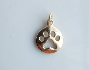 Gold vermeil round charm with dog paw cutout, dog paw charm, gold plated sterling silver (11x14mm)