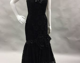 Black Lace Mermaid Prom Dress 1980 1990 | Strapless Sweet Heart Neckline