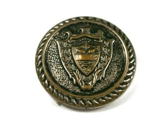Large Brass Button, Antiqued Brass Metal Button, Coat of Arms Button, Rope Detail