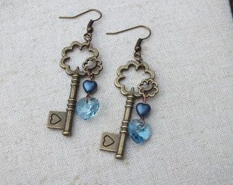 Bronze and blue key earrings, love earrings, blue heart earrings, Steampunk earrings, Swarovski heart earrings