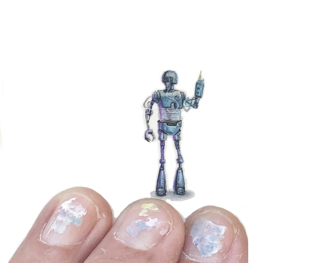 Original Miniature painting of a Star Wars 21B Droid. Tiny painting, Star Wars  tiny art 5 x 5