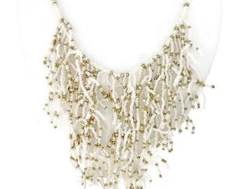 White Beaded Fringe Necklace - Coral Reef Seed Bead Necklace - Statement - Southwest Boho Long Beaded Fringe Necklace - Bohemian - Trendy