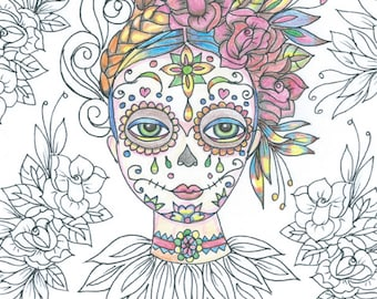 Day of the Dead Colouring Page 'The Circus Girl Colouring Book'