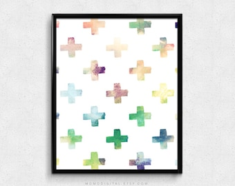 SALE -  Watercolor Swiss Cross, Pattern, Modern Decoration, Contemporary Design, Colorful Art Poster Print, Wall Dorm, Office Space