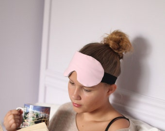 Pale Pink Cotton Knit Sleep Mask with Heather Grey Lining
