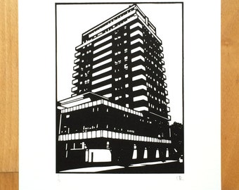 London Screen Print - Vauxhall Building Screenprint, Hand Pulled Fine Art Print. Based on Original Hand cut Papercut. Limited Edition of 15