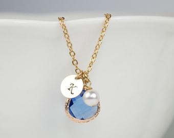 Personalized September Sapphire Birthstone Gold Necklace, Sapphire Necklace, September Birthstone Jewelry, Personalized Gold Necklace #877