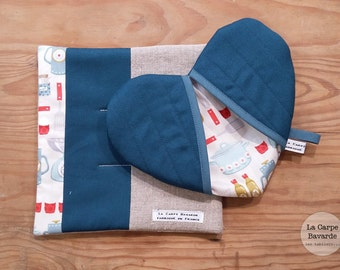 potholders - heart - trivet pot holder - petrol blue box
