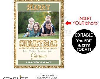 Unique Christmas Photo Card, Photo Christmas Card Gold Glitter Vintage, EDITABLE INSTANT DOWNLOAD Pdf, Printable Christmas Card Template