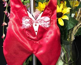 Red radiance tuxedo vest