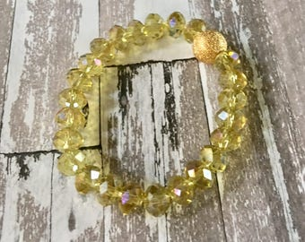 Bracelet Crystal Beaded Stretchy Shades Pale Yellow Stackable