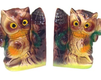 Vintage Owl Bookends Old Book Ends Mid Century Library Kitsch