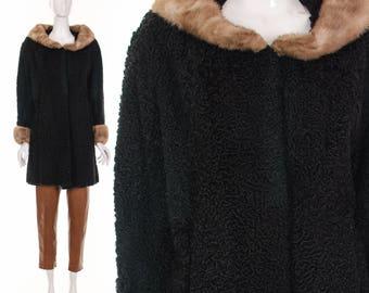 PERSIAN LAMB SWING Coat 60's Curly Black Persian Fur and Mink Collar Cuff Statement Jacket Starlet Jacket Regal Mod Glam Coat M L