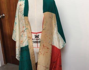Multicoloured had painted silk poncho / shawl / wrap / beach coverup