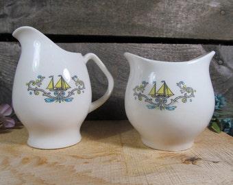 Sugar and Creamer, Nautical Theme, Vintage, Home Kitchenware, Tea or Coffee Serving Set