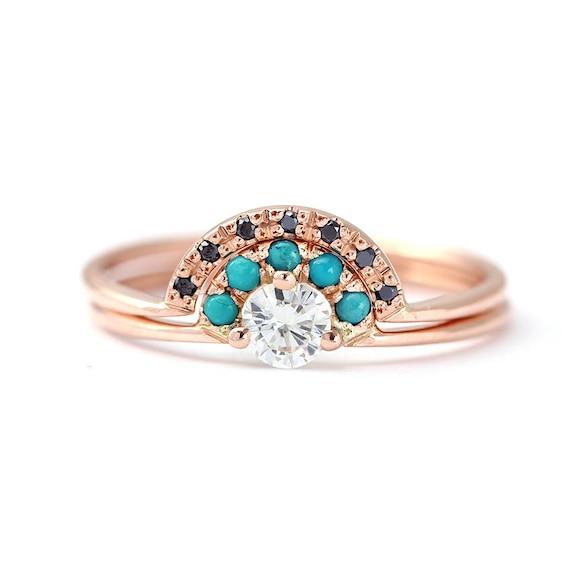 Turquoise Bridal Wedding Set Rose Gold Wedding Set Diamond