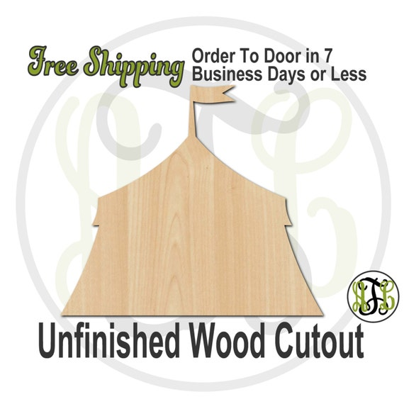 Circus Tent- 300103- Big Top Cutout, unfinished, wood cutout, wood craft, laser cut shape, wood cut out, Door Hanger, wooden, ready to paint