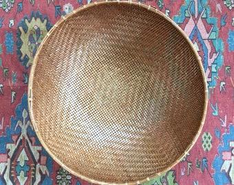 Basket Woven Winnowing Wall Basket Crosshatched Rattan Bamboo Bohemian Coastal Decor