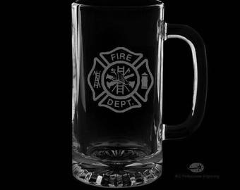 16 Ounce Fire Department Personalized Beer Mug