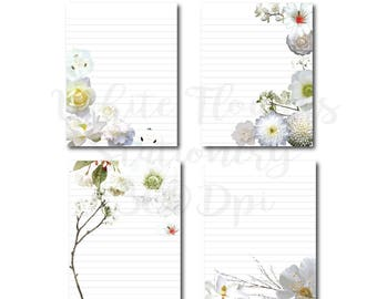 White Flowers Digital Paper Stationery Paper Printable Stationary Paper Writing Paper Template Anemone, Magnolia, cherry blossom