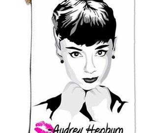 Audrey Hepburn Cosmetic Bag,  Audrey Hepburn Makeup bag, Cosmetic Makeup pouch with Audrey Hepburn, Audrey Hepburn Cosmetic makeup bag