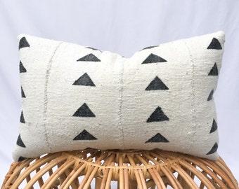 Black & White Mudcloth Pillow Cover / 12x18