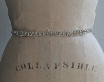 Bridal Belt-Bridal Sash-Bridesmaid Belt-Art Deco Rhinestone Beaded Bridal Sash Belt-Bridesmaid Sash-Small Rhinestone Wedding Sash Belt