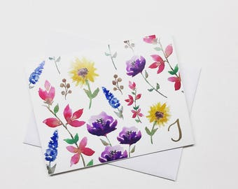 Custom Initial Floral Cards - 10 pack