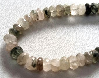 """Natural Green RUTILATED QUARTZ faceted beads ,rondelles beads , 6.5 mm -- 7.5 mm ,8""""strand[E2361] green and black rutile beads"""