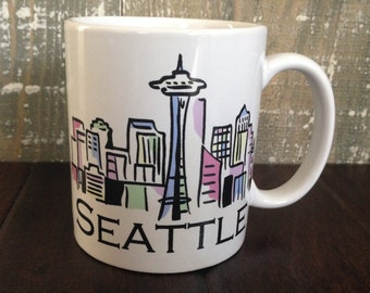cherryREVOLVER SEATTLE Travel Mug with Downtown Skyline Space Needle Artist Illustration