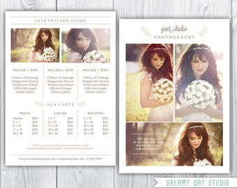 wedding photographer pricing template / photographer price list / photographer pricing / templates for photographers / Rustic Elegant Simple