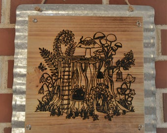 Wood Burned Wall Sign with Corrugated Metal