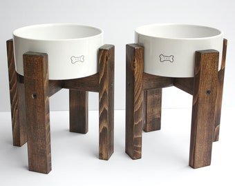 "Pair of Dog Bowl Stands / 6"" Elevated Dog Bowls / Mid-Century Dog Stands / Medium Sized Dogs"