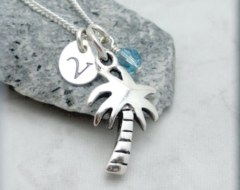 Palm Tree Necklace, Personalized Jewelry, Birthstone Necklace, Sterling Silver, Tropical Necklace, Beach Necklace, Initial Charm