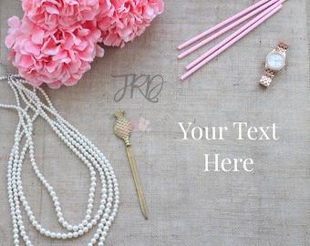 Gold and Pink Styled Stock Photography Burlap Desktop Photo Scene for Blogging, Instagram, Branding Images