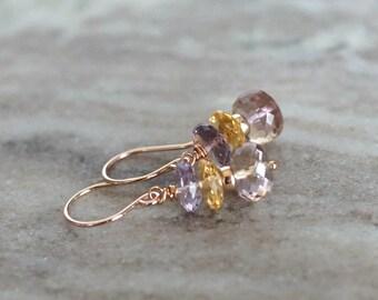 Amethyst earrings, Ametrine earrings, multi gemstone earrings, citrine earrings, citrine jewelry, 14k rose gold fill French hook ear wires