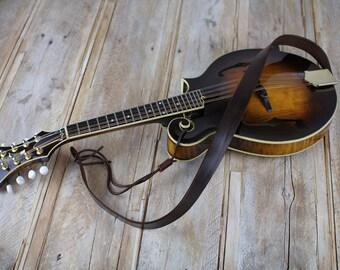 Brown Leather Mandolin Strap, MS50, Bluegrass Mandolin Strap, full grain leather, gift for mandolin player.
