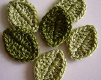 Crocheted Leaves - Wool Blend - Crocheted Leaf Appliques - Crocheted Leaf Embellishments - Set of 6