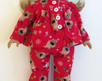 18 inch Doll Clothes - Christmas Reindeer Flannel PJs